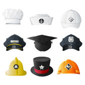 Different Profession Hats — Vettoriale Stock