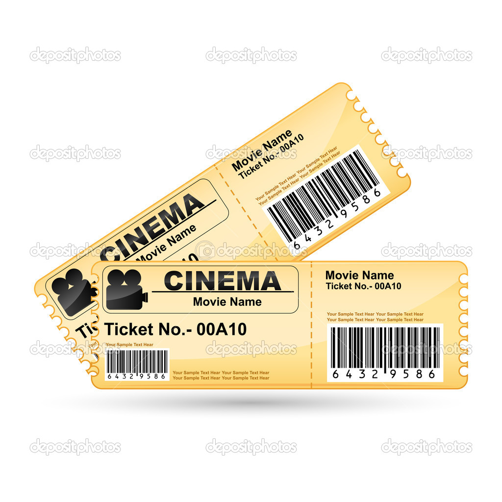 Illustration of movie ticket on isolated white background — Stock Vector #5163090