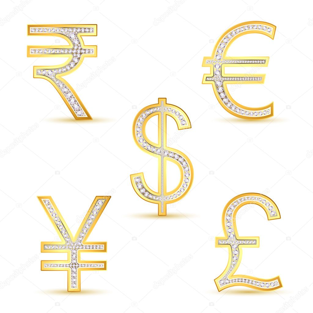 Illustration of diamond currency symbol on white background — Vektorgrafik #5163330