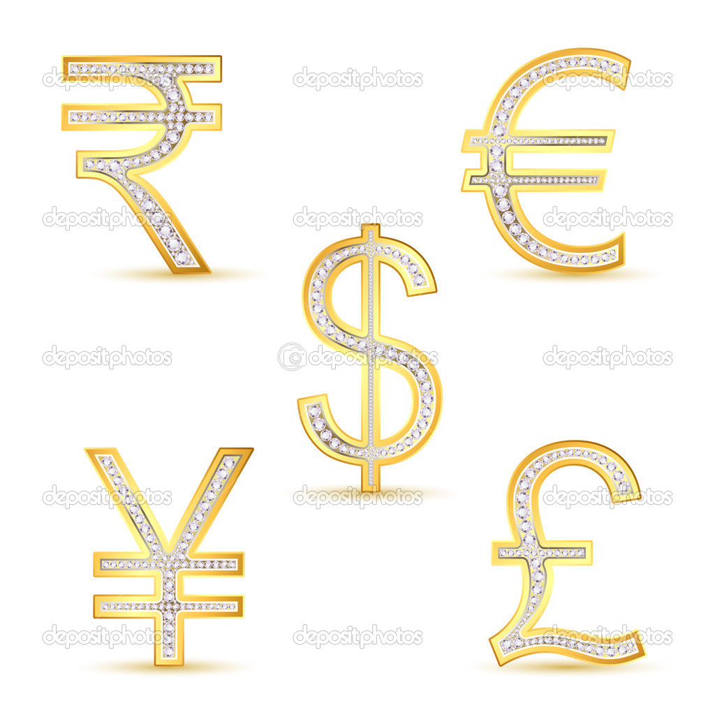 Illustration of diamond currency symbol on white background — Stock Vector #5163330