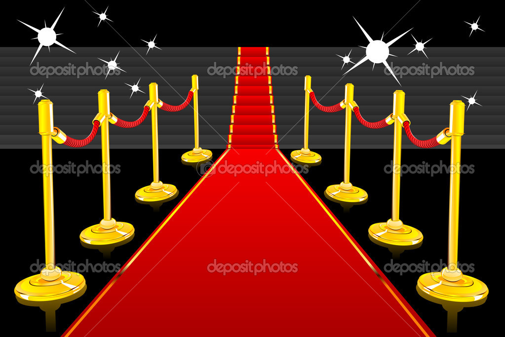 Illustration of red carpet going up to stairs lined with gold stanchions — Stock Vector #5163417