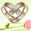 Pair of Rings with Rose - Stock Vector