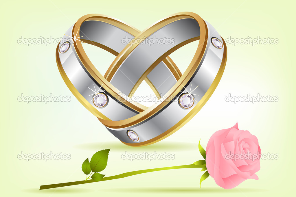 Illustration of pair of engagement rings with rose on abstract background — ベクター素材ストック #5184716