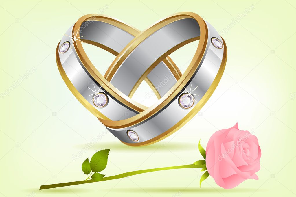 Illustration of pair of engagement rings with rose on abstract background — Stock vektor #5184716