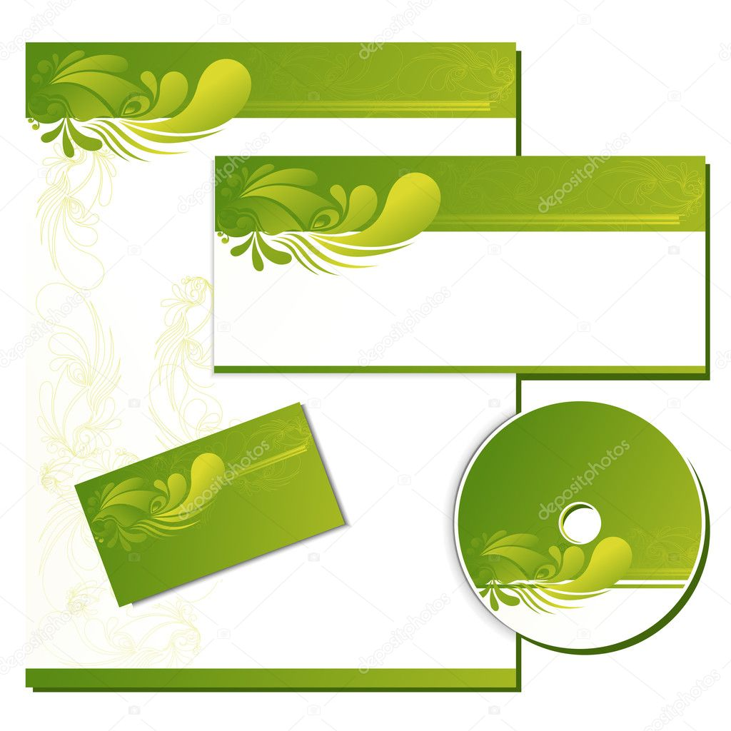 Illustration of business template with business card,cd cover and letter head  Stock Vector #5185045