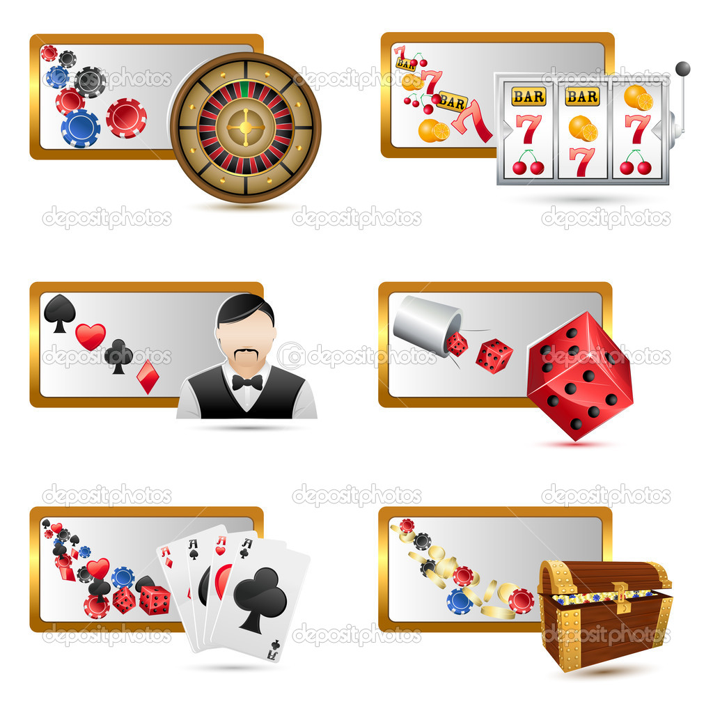 Illustration of set of casino icons on isolated white background  Stock Vector #5189814