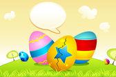 Paskalya yumurtaları ile konuşma balonu — Stok Vektör