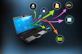 ноутбук приложений — Cтоковый вектор