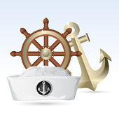 Sailor Hat with Steering Wheel and Anchor — Stock Vector