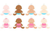 Multiracial Babies — Stock Vector