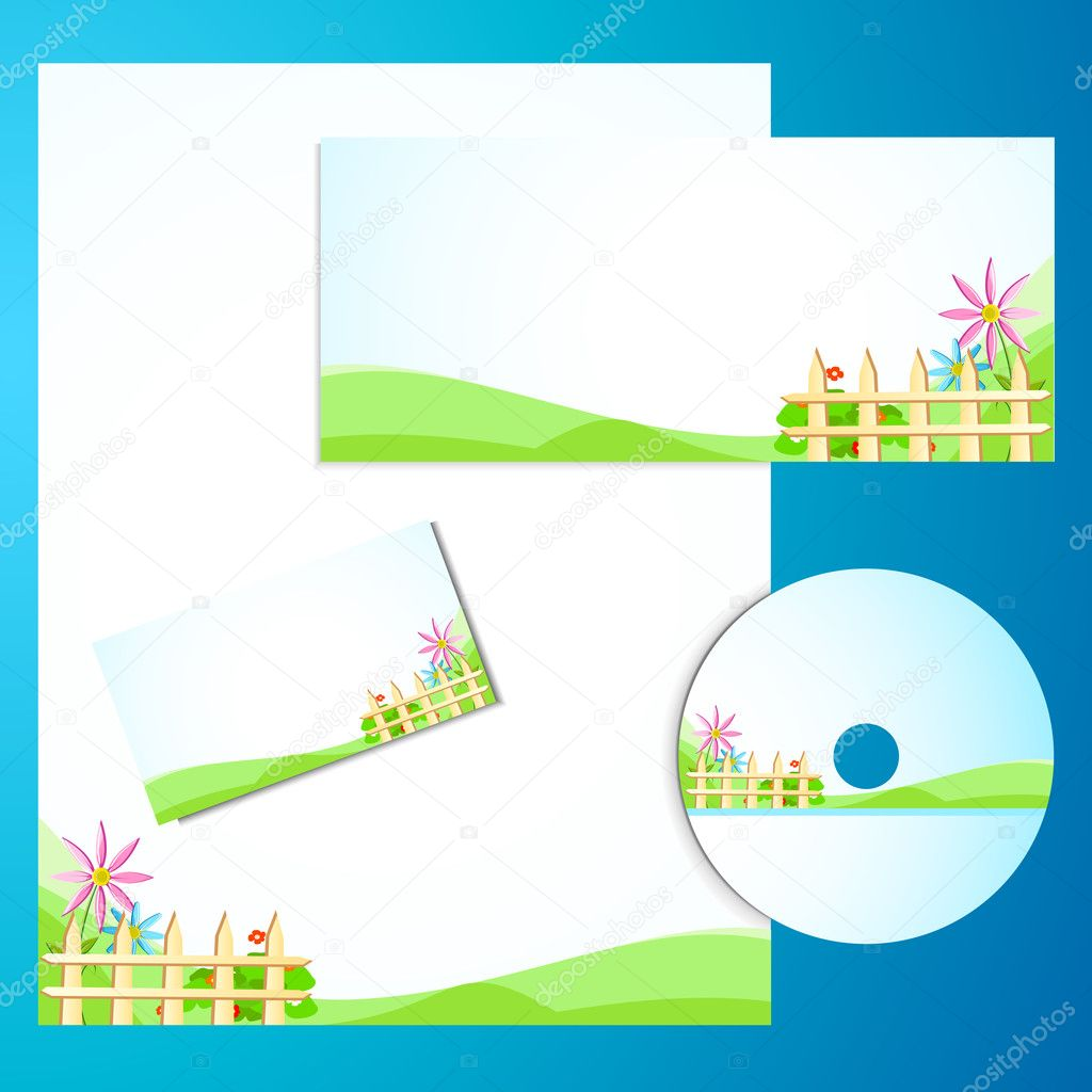 Illustration of business template with business card,cd cover and letter head — Stock Vector #5229950