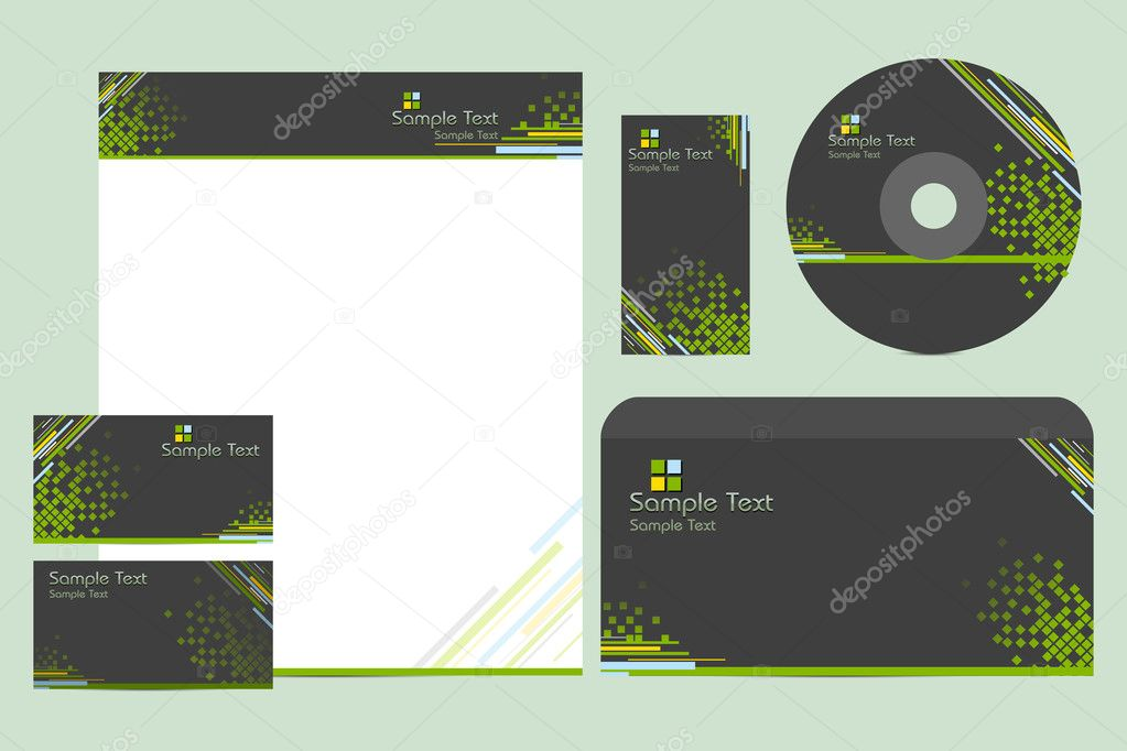 Illustration of business template with business card,cd cover and letter head — Stock Vector #5230291