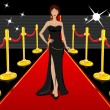 Stock Vector: Glamorous Lady on Red Carpet