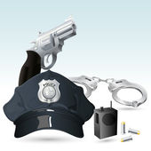 Handcuff with Police Hat and Gun — Stock Vector