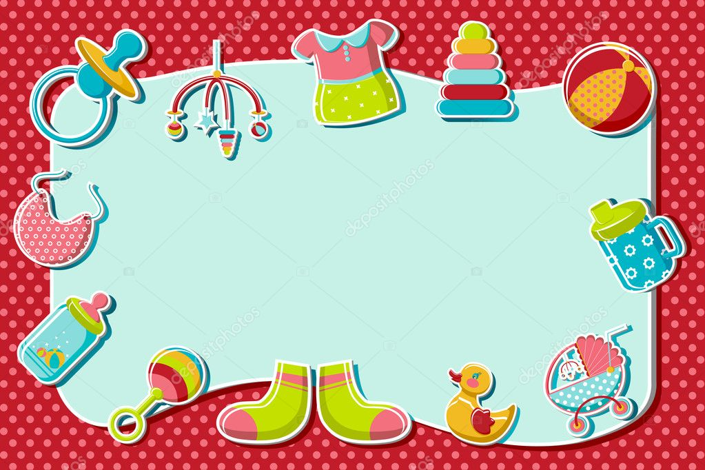 Illustration of set of item related to baby on abstract background — Stock Vector #5243566