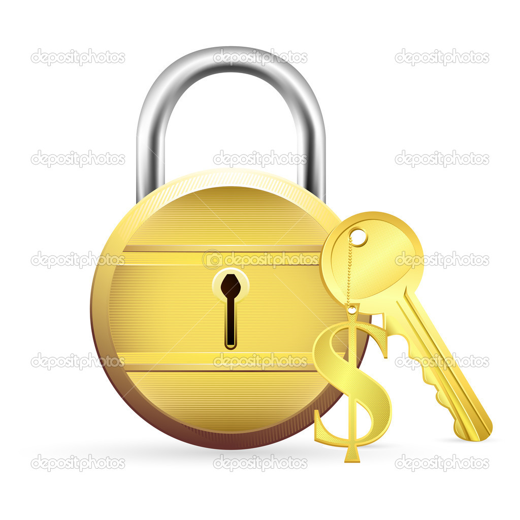 Illustration of gold lock with dollar key on white background  Stock Vector #5243716