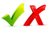 Compruebe y cruz marca — Vector de stock