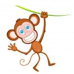 Hanging Monkey — Stock Vector