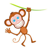 Hanging Monkey — Stock Vector