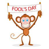 Monkey wishing Fool's Day — Stock Vector