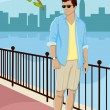 Stock Vector: Guy standing on street