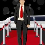 hombre en alfombra roja — Vector de stock
