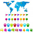 World Map with GPS icons - Stock Vector