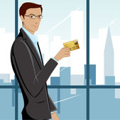 Man showing Credit Card — Stock Vector