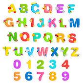 Alfabe ve sayı kümesi — Stok Vektör