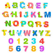 Alphabet and Number Set — Vector de stock