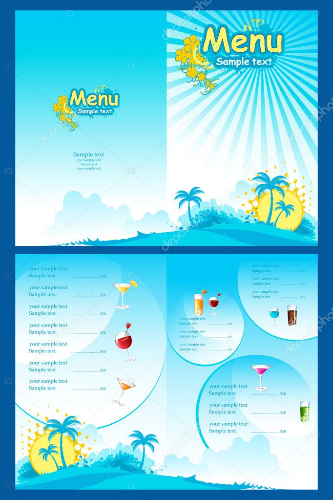 Illustration of template for menu on sea beach background — Stock Vector #5316304