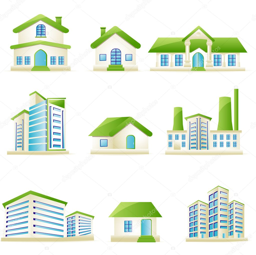 Illustration of set of architectural building on isolated white background — Stock Vector #5336876