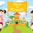 Royalty-Free Stock Vector Image: Kids on Pencil going to School