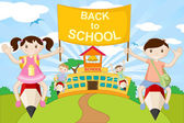 Kids on Pencil going to School — Stock Vector