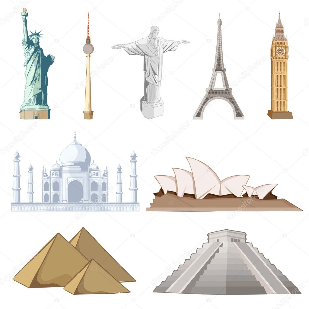 Illustration of set of famous monument around the world  Stock Vector #5343613