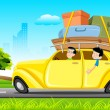 Royalty-Free Stock Vector Image: Famil in Car on Tour