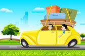 Famil in Car on Tour — Stock Vector