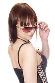 Portrait of a beautiful girl in sun glasses — Stock Photo