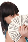 Girl with the money — Stockfoto