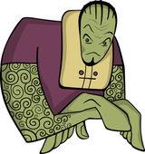 Izole büyük güçlü yeşil çizgi roman yaratık — Stok Vektör