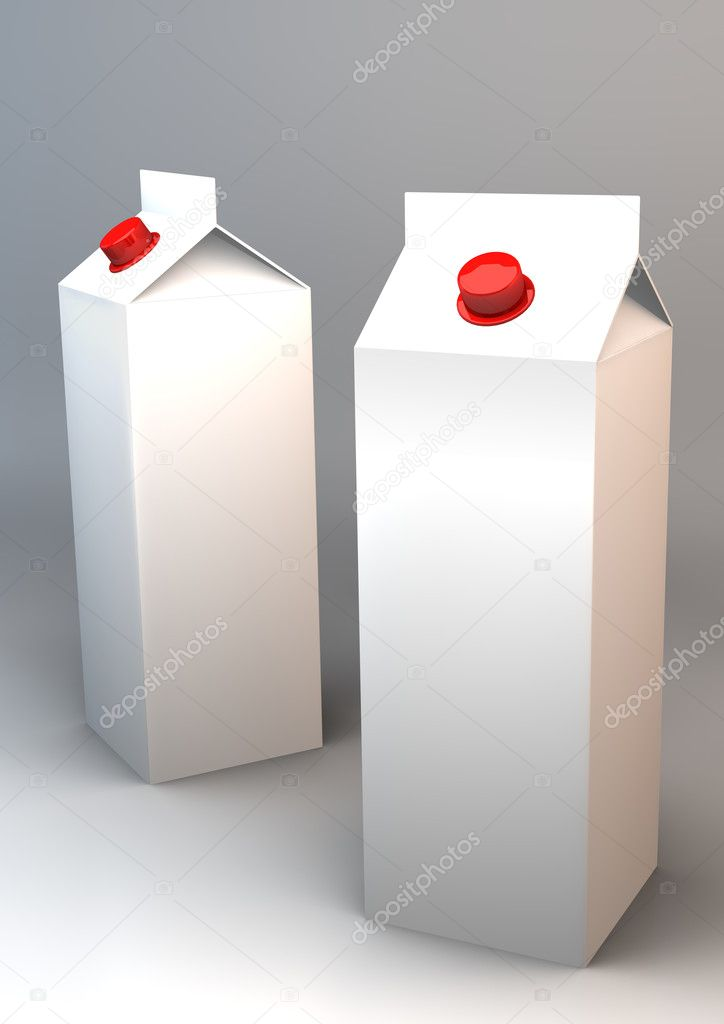 3d milk tetrapack  Foto Stock #5030320