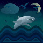Night shark — Stock Vector