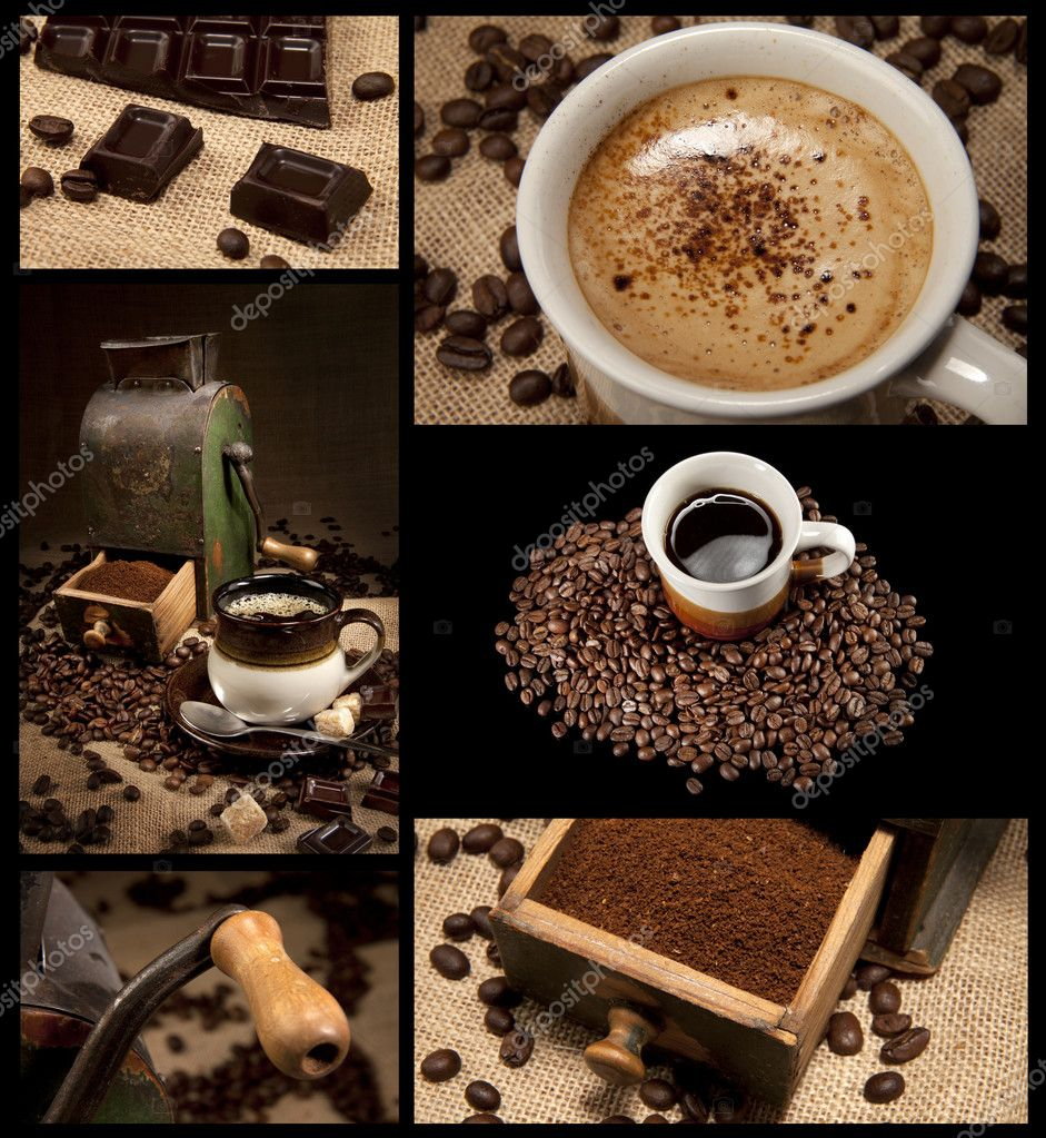 Coffee decoration collection on black background — Stock Photo #5033031