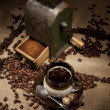 Stock Photo: Old coffee mill and cup of coffee with chocolate