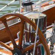 Rudder on a wooden boat — Stock Photo