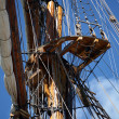 Tall sail ship rigging - Stock Photo