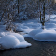 Winter landscape with a river - Stock Photo