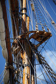 Tall sail ship rigging — Stock Photo