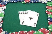 Royal flush and chips — Stock Photo