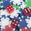 Royalty-Free Stock Photo: Many poker chips and dice